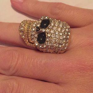Gold Rhinestone Skull Ring